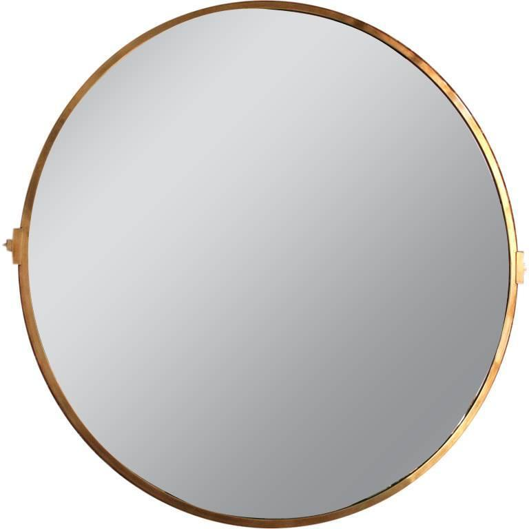 Large Custom Round Brass Mirror For Sale