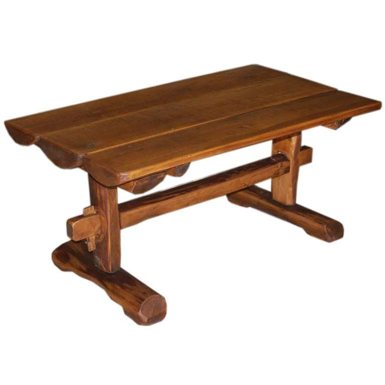 Charmant Primitive Coffee Table / Side Table From Reclaimed Antique Wood. For Sale