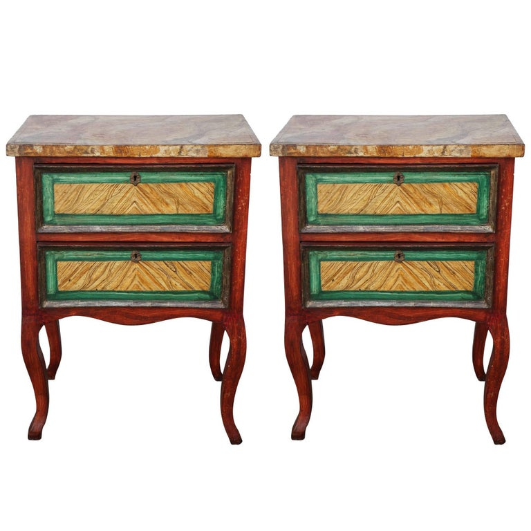 Pair of 19th Century Italian Miniature Painted Commodes