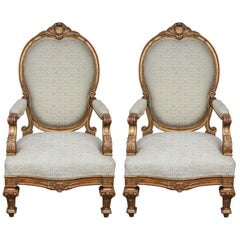 Pair of 19th Century Italian Giltwood Oversized Balloon Back Armchairs