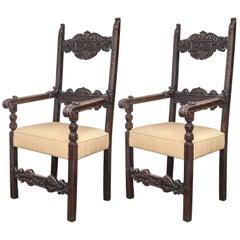 Pair of 18th Century Italian Walnut Throne Chairs