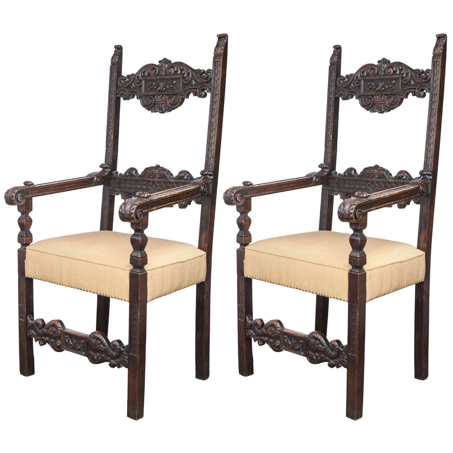 Pair of 18th Century Italian Walnut Throne Chairs