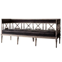 Sofa Bench Long Swedish Neoclassical Original Paint Early 19th Century Sweden