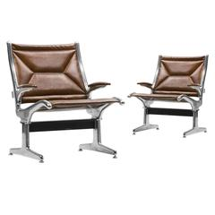 Eames for Herman Miller Tandem Sling Chair in Copper Edelman Leather