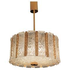 High End Bronze Chandelier Glass Ceiling Fixture 1960s Modernist Design