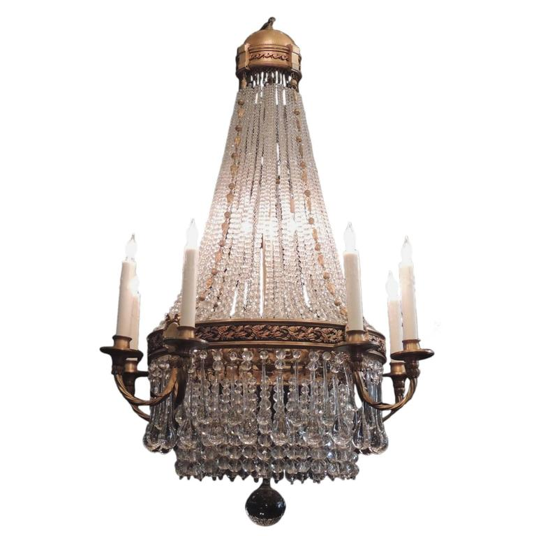 Early 20th C French Empire Style Crystal Chandelier