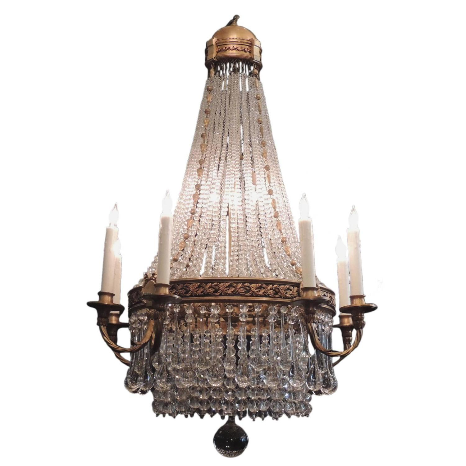 French empire style montgolfier crystal chandelier 1920s at 1stdibs aloadofball Choice Image