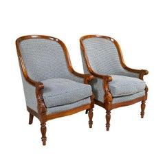 Pair Mahogany Empire Style Armchairs