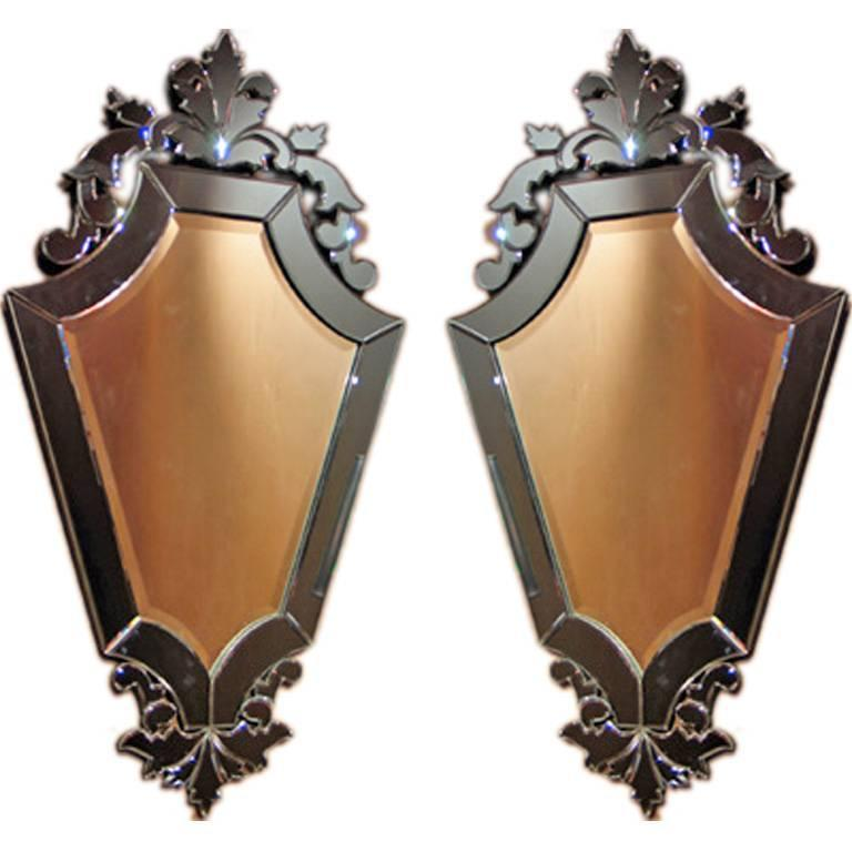 Pair of Venetian Mirrors with cobalt blue mirror surrounds