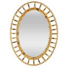 Spanish Mid-century modern Bamboo Oval Sunburst Mirror