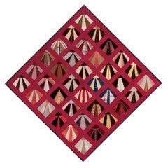 Striking Lancaster County Ribbon Silk Fan Pattern Quilt, Reminscent of Neck Ties