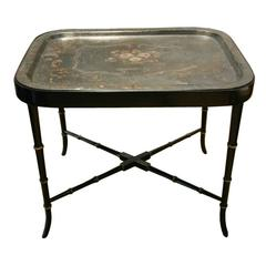 19th Century French Tole Tray with Custom Faux Bamboo Stand