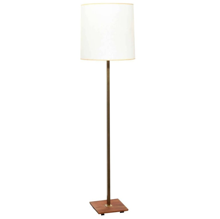 1950s Nessen Studios Brass, Walnut Floor Lamp with White Glass Shade