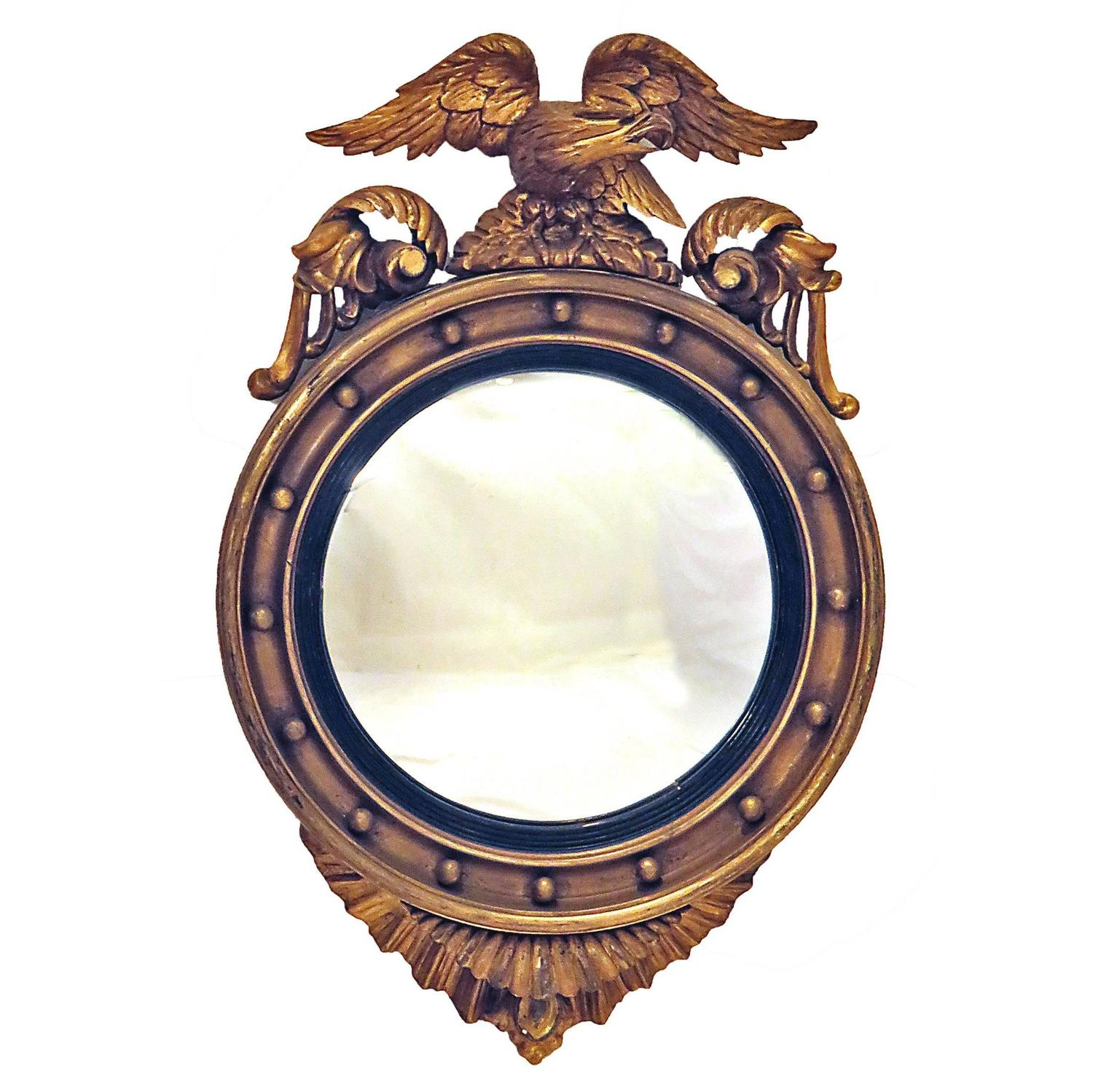 A 19th Century Eagle Crested Convex Mirror, England For Sale At 1stdibs