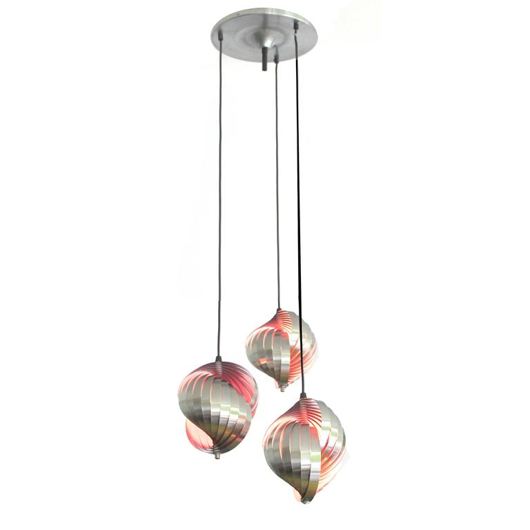 Larege danish modern lyfa sculpture with 3 twisted steel pendants sculptural three tiered chandelier designed by henri mathieu each light is made out of aloadofball Choice Image