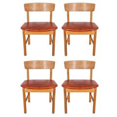Set of 4 Borge Mogensen Oak and Leather Curved Back Sound Series Dining Chairs