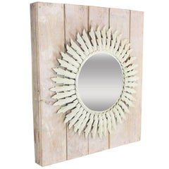Spanish 1960s Mediterranean White Patinated Iron Sunburst Mirror Wall Decoration