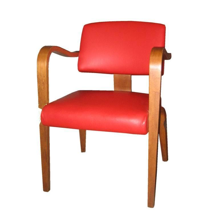 4 Thonet Arm Chairs In Red Pleather For Sale At 1stdibs