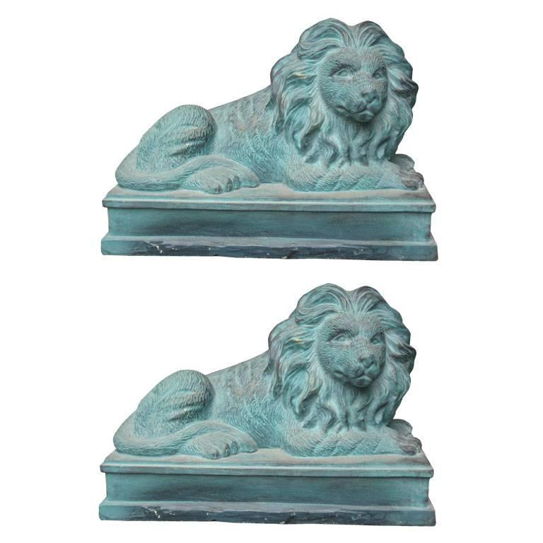 Pair of Lion Figures