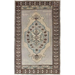 Vintage Turkish Oushak Rug in Gray, Taupe, Brown and Ivory