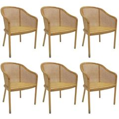 Set of Six Bleached Oak Armchairs by Ward Bennett for Brickel