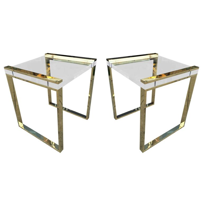 Pair of Charles Hollis Jones Side Tables in Lucite and Brass