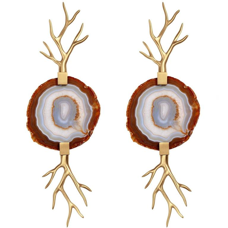 Willy Daro Style Brass and Agate Slice Wall Sconces