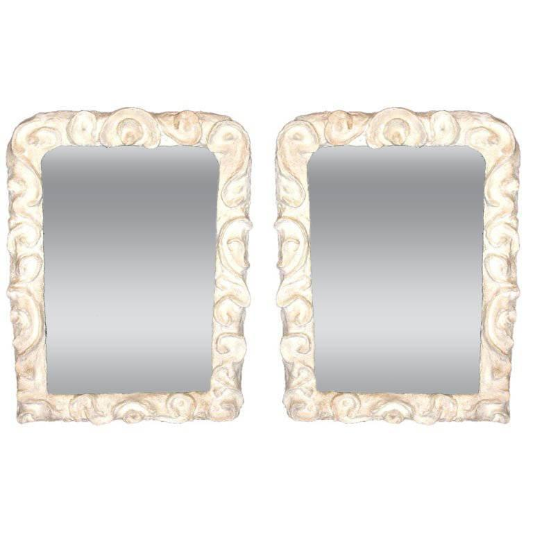 2 French Mid-Century Modern Plaster Mirrors, Style Giacometti, Jean Michel Frank