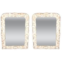 2 French Modern Baroque Plaster Mirrors in Style of Giacometti for JM Frank
