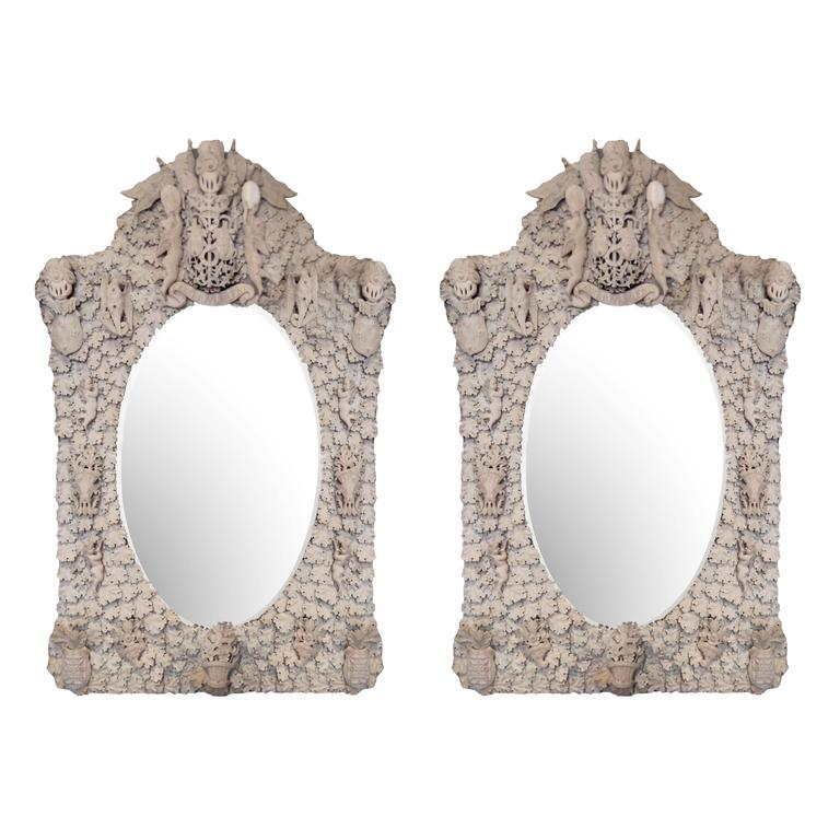 Pair of Early 19th Century Hand-Carved English Bone Oval Mirrors For Sale