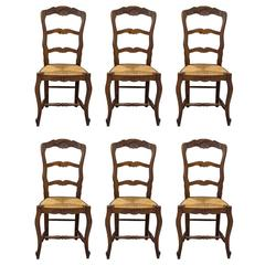 Set of Six  French Country Rush Seat Chairs
