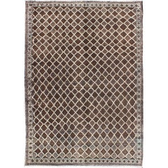 Turkish Rug with Modern Diamond Design in Brown Colors