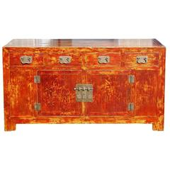 Mid to Late 19hC. Q'ing Dyansty Beijing Four Drawer Buffet with Brass Hardware