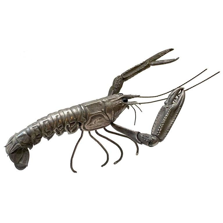 Mid-Century Sterling Sculpture of a Tiger Prawn 1