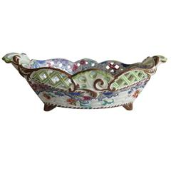 Rare Georgian Spode Pierced Basket Creamware Ship Border Pattern, Circa 1825