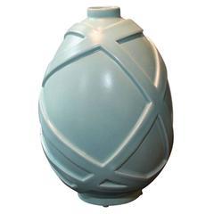 Gorgeous Art Deco Modernist Celadon Ceramic Vase Signed by Primavera