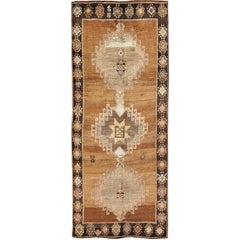 Vintage Turkish Kars Rug in Brown Colors, Tan, Taupe and Light Green