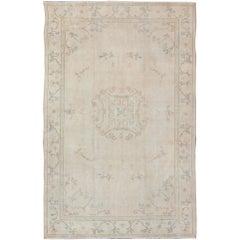 Turkish Carpet with Turkestan Khotan Design and Neutral Colors