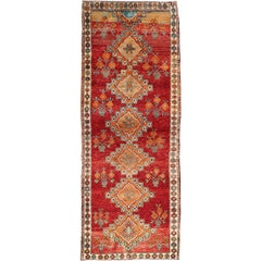 Vintage Turkish Oushak Runner in Beautiful Royal Red, Light Blue/Gray and Orange