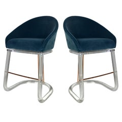 Pair of Lucite and Brass Counter Stools by Lion in Frost