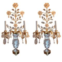 Modern Transitional Pair of Gilt Rock Crystal BaguèS Flowers Candelabra Sconces