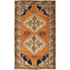 Vintage Turkish Oushak with Orange, Light Blue, Gray, Light Green and Brown