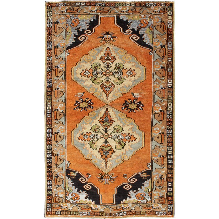 Vintage Turkish Oushak with Orange, Light Blue, Gray, Light Green and Brown For Sale