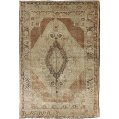 Vintage Oushak Rug with Neutral Colors