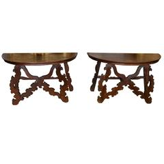 Pair of Italian Inlaid Demilune Consoles