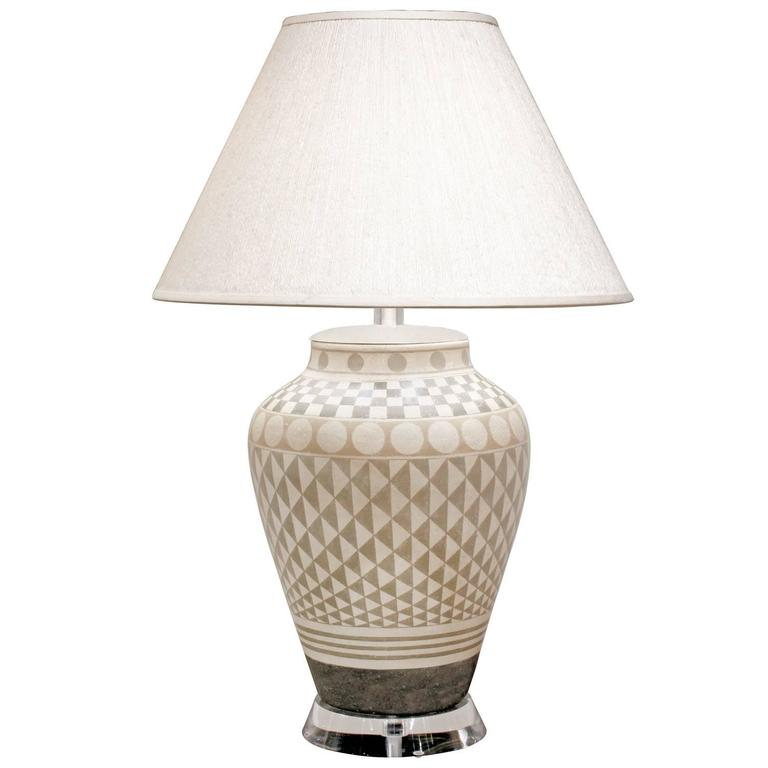 Exceptional Large Ceramic Table Lamp, 1970s