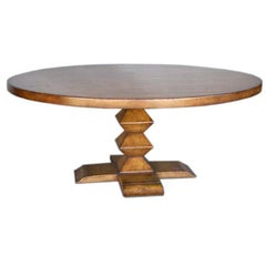 Dos Gallos Custom Round Walnut Wood Dining Table With Stacked Pyramid Pedestal