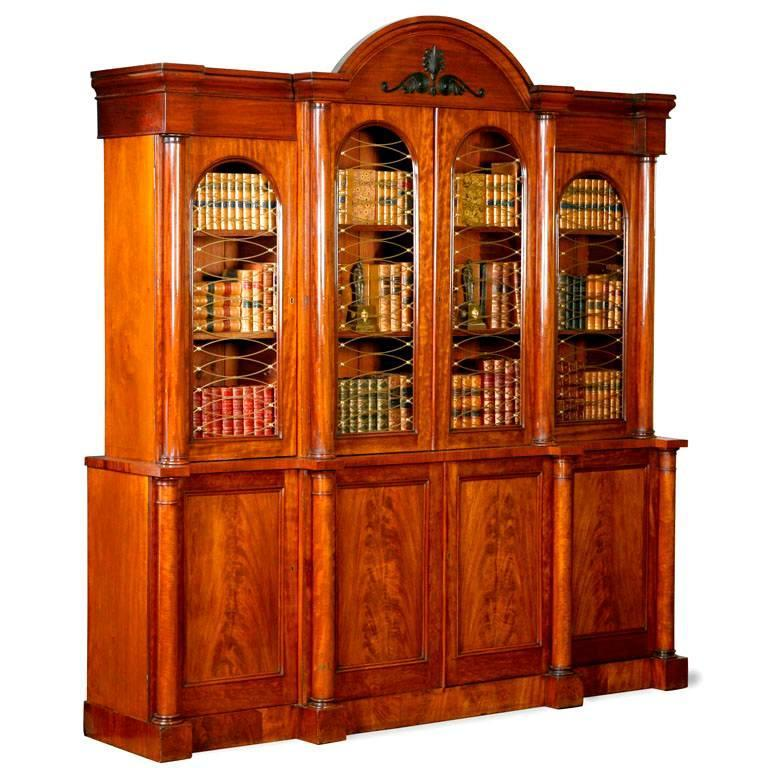 Regency Breakfront Bookcase For Sale