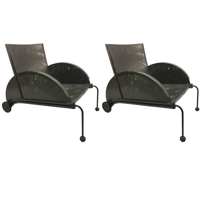 Pair of Italian Post Modern Lounge Chairs by Castelli Ferrieri, c. 1980