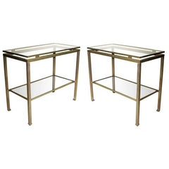 Pair French Mid-Century Modern Nickel Side Tables, Guy Lefevre for Maison Jansen